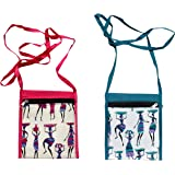 Mandhania Women's Warli Printed Cotton Sling Bags - Pack of 2 , Multicolour