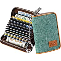 FurArt Credit Card Wallet, Zipper Card Cases Holder for Men Women, RFID Blocking, Key Chain, Compact Size (Aqua Green)