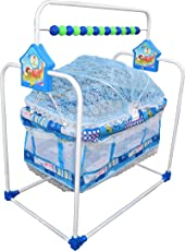 Flipzon Baby Swing Cradle Jhula with Mosquito Net for New Born Baby (J10) - Blue