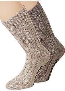 Damen ABS Stoppersocken mit Umschlag Alpakawolle und Wolle dunkelgrau 35 bis 42