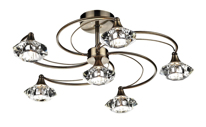 luther 6 light semi flush light finish antique brass amazoncouk lighting
