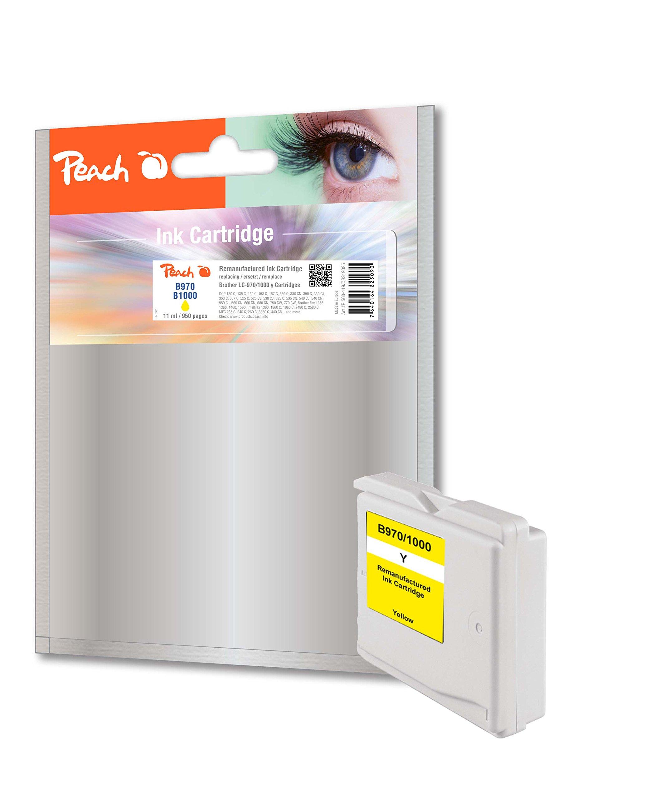 Peach–Cartuccia XL Giallo COMPATIBILE CON Brother LC 1000, LC 970