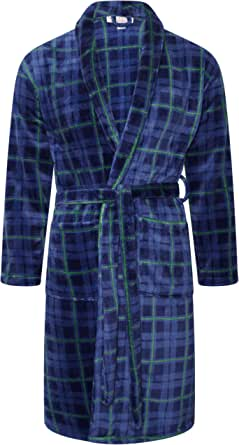 Adore Home Mens Flannel Fleece Bathrobe Warm Soft Dressing Gown Bath Robe Shawl Collar