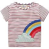 Baby Girl Cotton Tees Lattice Stripe Short Sleeve Round Neck T-Shirt