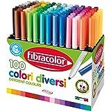 Fibracolor 100 colores – Maletín 100 rotuladores punta cónica en 100 colores diferentes superlavables