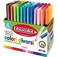 Fibracolor 100 COLORI - Mallette 100 feutres pointe conique en 100 couleurs différentes super lavables