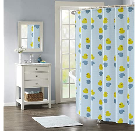 Blue Canyon Polyester Bath Shower Curtain With Hooks Quackers Design 180 x 180cm