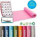 POWRX Yogamatte Pro inkl. Tasche + Gratis Workout - Rutschfest + schadstofffrei TPE umweltfreundlich I Gymnastikmatte 173 x 61 x 0,5 cm I Trainingsmatte hautfreundlich versch. Farben
