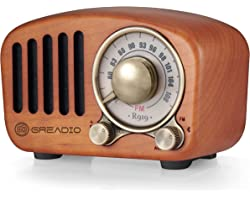 Vintage Radio Retro Bluetooth Speaker- Greadio Cherry Wooden FM Radio with Old Fashioned Classic Style, Strong Bass Enhanceme