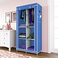 Whitecloud® 3+3 Layer Collapsible Wardrobe for Clothes with Side Pocket 7800-3 (84CM x 42.5CM x 166CM, Blue)