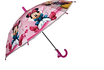 My Party Suppliers Girl's Minnie Mouse Cartoon Print Umbrella (Pink, minniemousenew)