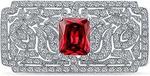 Bling Jewelry Art Deco Vintage Stile Rosso Verde Simulato Smeraldo Ruby AAA C' Rettangolo Brof Spilla Pin per Donne Argento Placcato