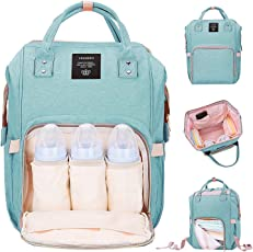 Robustrion Nylon Stylish Waterproof Multifunctional Diaper Backpack, 20x18x40cm (Green)