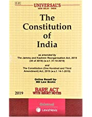 The Constitution of India as amended by The Jammu and Kashmir Reorganisation Act, 2019 Bare Act with Short notes