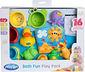 Rotho Babydesign Badespielzeug-Set, 16-teilig, Ab 6 Monaten, BPA-frei, Playgro Badespielzeug Geschenkset, 40115