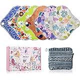 YueTech Lot de 6 serviettes hygiéniques XS (16,5cm) en tissu de bambou, réutilisables et lavables, pour femme, compresses d'