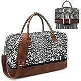Peicees Weekender Bag Reisetasche für Herren und Damen, Handgepäcktasche mit Schuhfach und Lederriemen, schwarz,