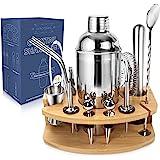 AYAOQIANG Shaker à Cocktail kit, Cocktail set 750ML Professionnel 13 Pièces en INOX avec Support en Bois, Ensemble de Cocktai