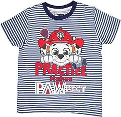 Planet Superheroes Paw Patrol Practice Makes Pawfect White Blue Stripes T-Shirt
