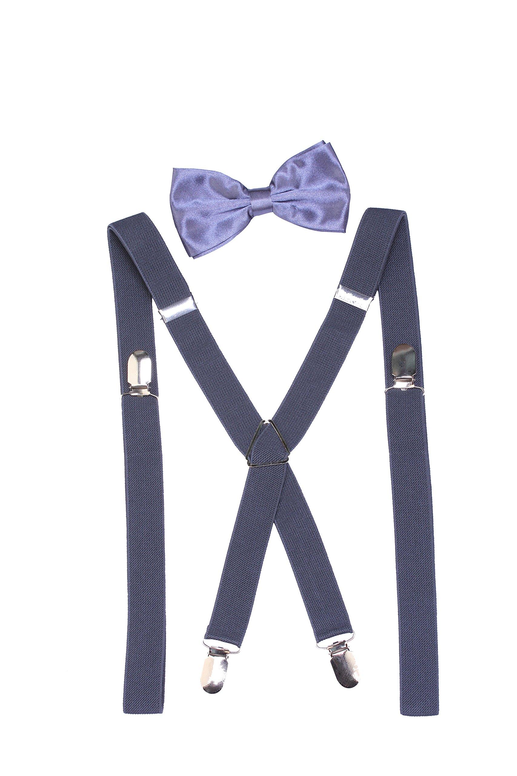 942daf5ed38b Men's X-Back Clip Suspenders Bow Ties Set for Men Tuxedo Weddings (Dark  Gray)