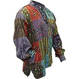 SHOPOHOLIC FASHION Mens Patchwork Stonewashed Hippie Shirt