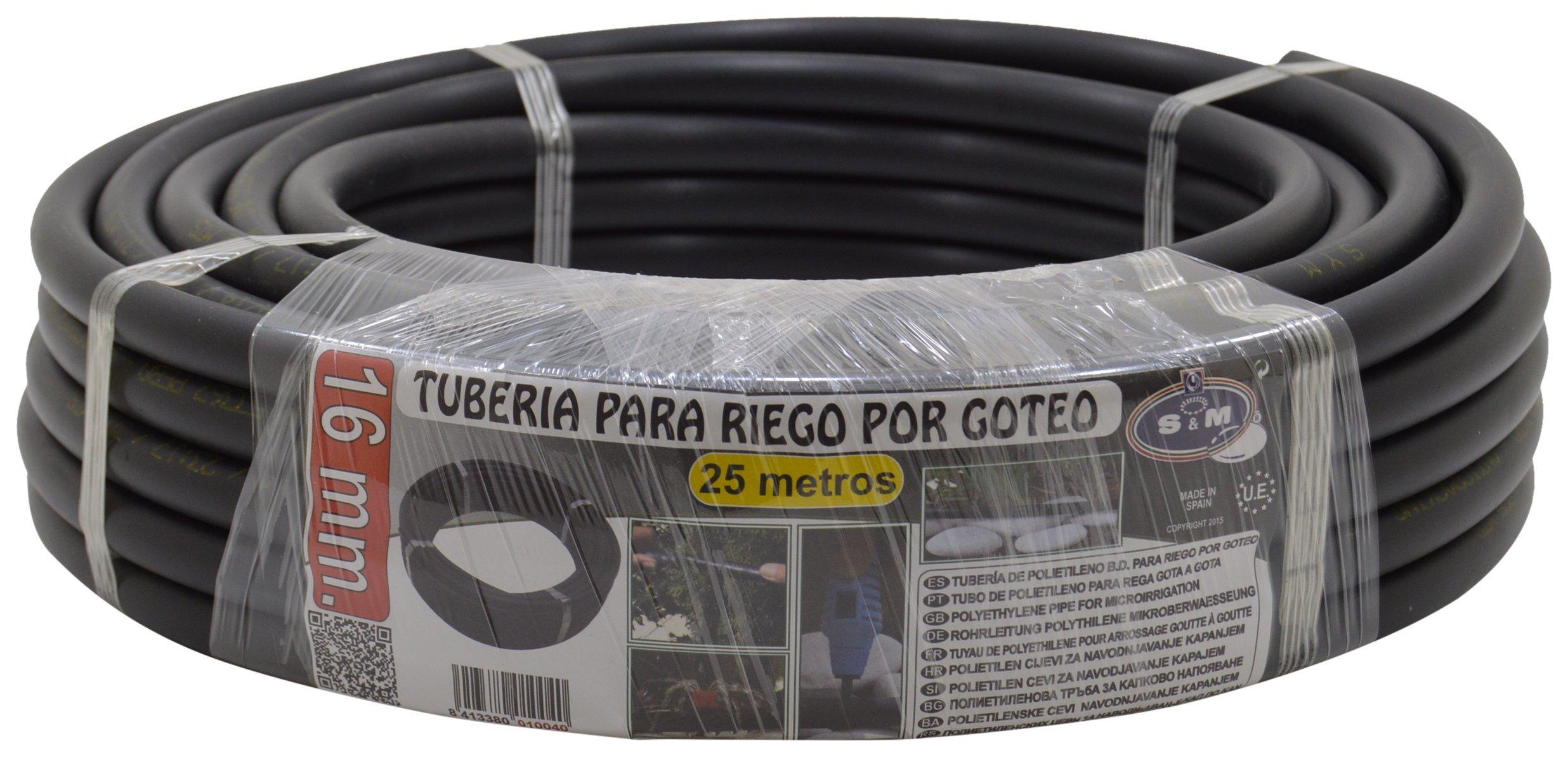 TUBERIA RIEGO GOTEO PE NEGRO 16 MM 25 M
