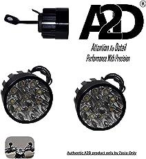 A2D 9 LED Small Handle Mirror Mount AUX Bike Fog Lamp Light Set of 2-White