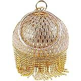Lanpet Damen-Clutch, rund, mit Kristallen, für Hochzeit, Party, Handtasche