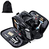 Water-Resistant Leather Toiletry Bag for Men Large Travel Wash Bag Shaving Dopp Kit Bathroom Gym Toiletries Makeup…