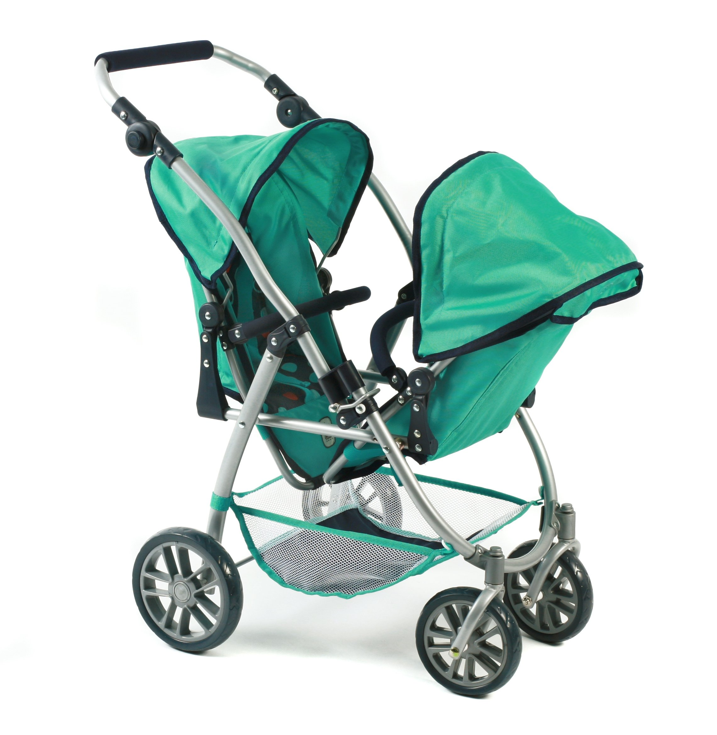 Bayer Chic 2000 689 21 Doll pram, Mint Bayer Chic Modern twin pushchairs with two removable and to be in a lying position adjustable Sport seating The seat of your Twin trolley are detachable and can be in multiple directions he tandem Buggy has a height-adjustable slider from 55 - 33 cm 2
