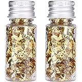 HERCHR 2 Botellas de Hojas de Pan de Oro Comestible Papel de Aluminio Decorativo multifunción para Pastel de Postre Chocolate
