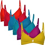 Softskin Women's Cotton Blend Non-Padded Non-Wired T-Shirt Bra (Pack of 6)
