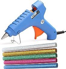 K999 40W 40 WATT Leak Proof Professional HOT MELT Glue Gun with LED Indicator Free 5 Glitter Sparkle Colored Glue Sticks (for DIY and Craft Work)