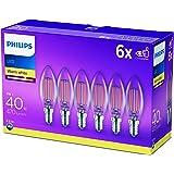 Philips ampoule LED Flamme E14 40W Blanc Chaud Claire, Verre, Lot de 6