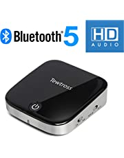 Tewtross Bluetooth 5.0 Transmitter and Receiver Digital Optical SPDIF TOSLINK and 3.5mm Aux RCA Wireless Audio Adapter for TV/Home Stereo System (Black)