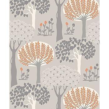 Arthouse Bernwood Orange Grey Wallpaper 416505