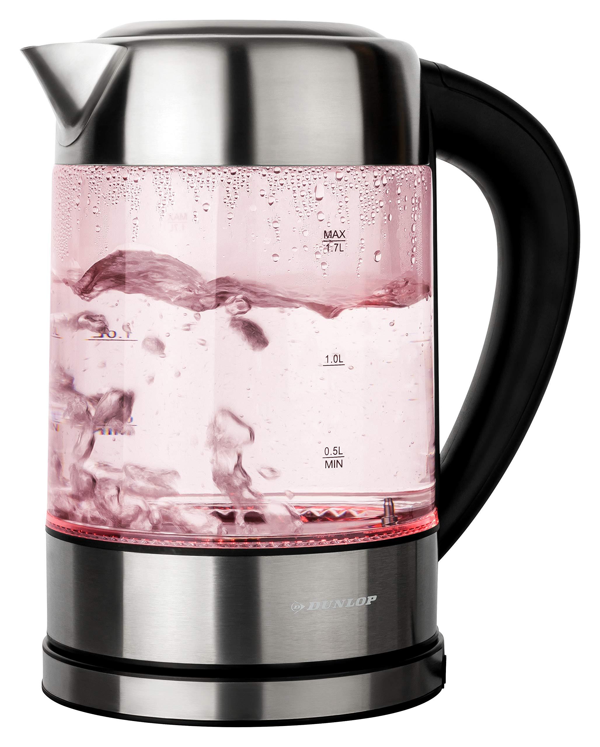 DUNLOP-Glas-Wasserkocher-Teekocher-17L-Edelstahl-mit-Temperaturwahl-Warmhaltefunktion-LED-Beleuchtung-Farbwechsel-nach-Temperatur-Vorwahl-von-60-100C-100-BPA-FREI