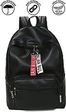 Kossh Unisex PU Leather Canvas Waterproof Backpack (13-inch, Black, KI-Bag 2)