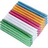 COM-FOUR® 48x lijmpatronen, kleurrijke glitter 7 mm hete lijmpatronen voor kunst- en doe-het-zelfprojecten, lijmpatronen voor