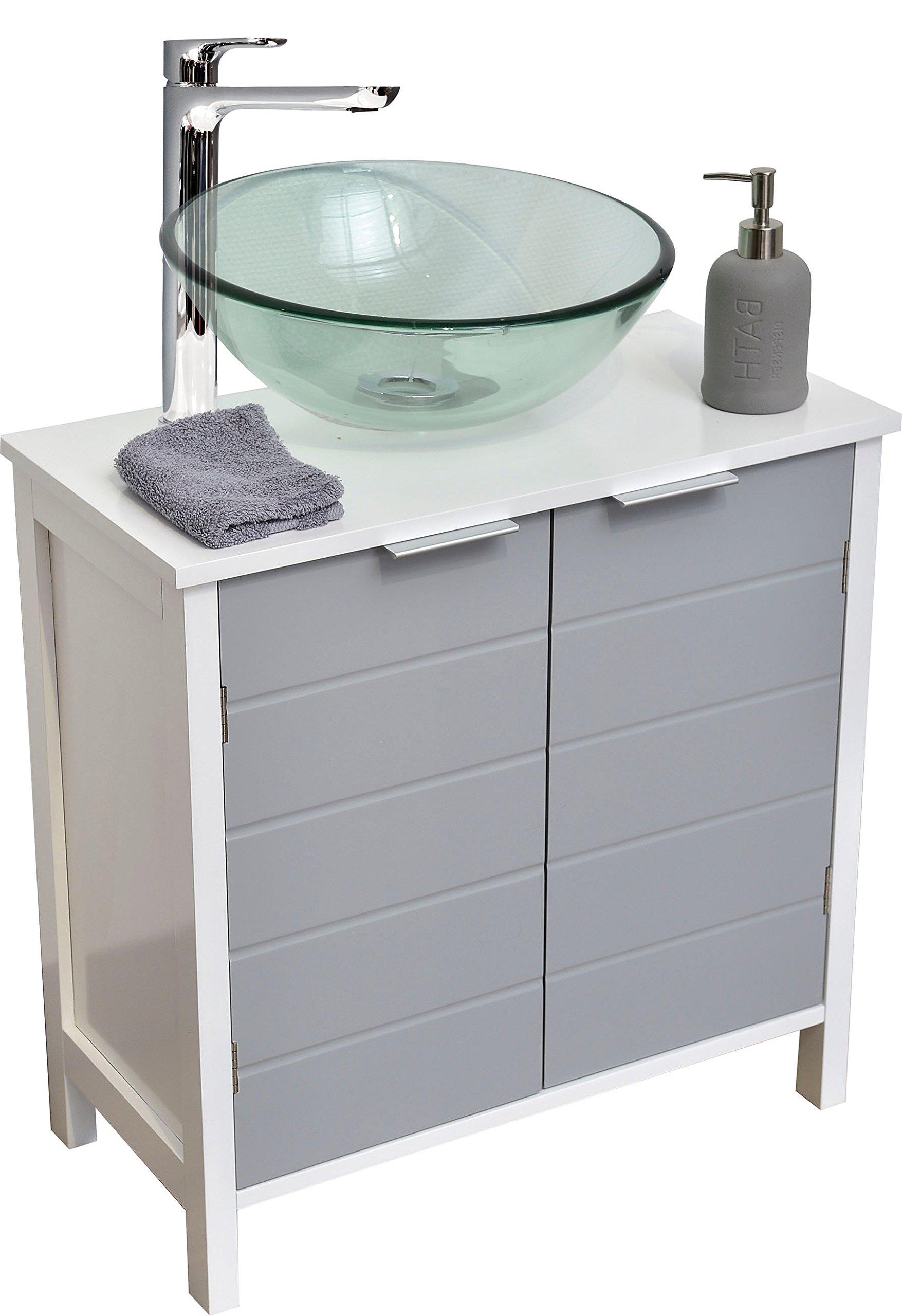 tendance meuble dessous de lavabo ou evier 2 portes et 1 tag re coloris blanc et gris. Black Bedroom Furniture Sets. Home Design Ideas