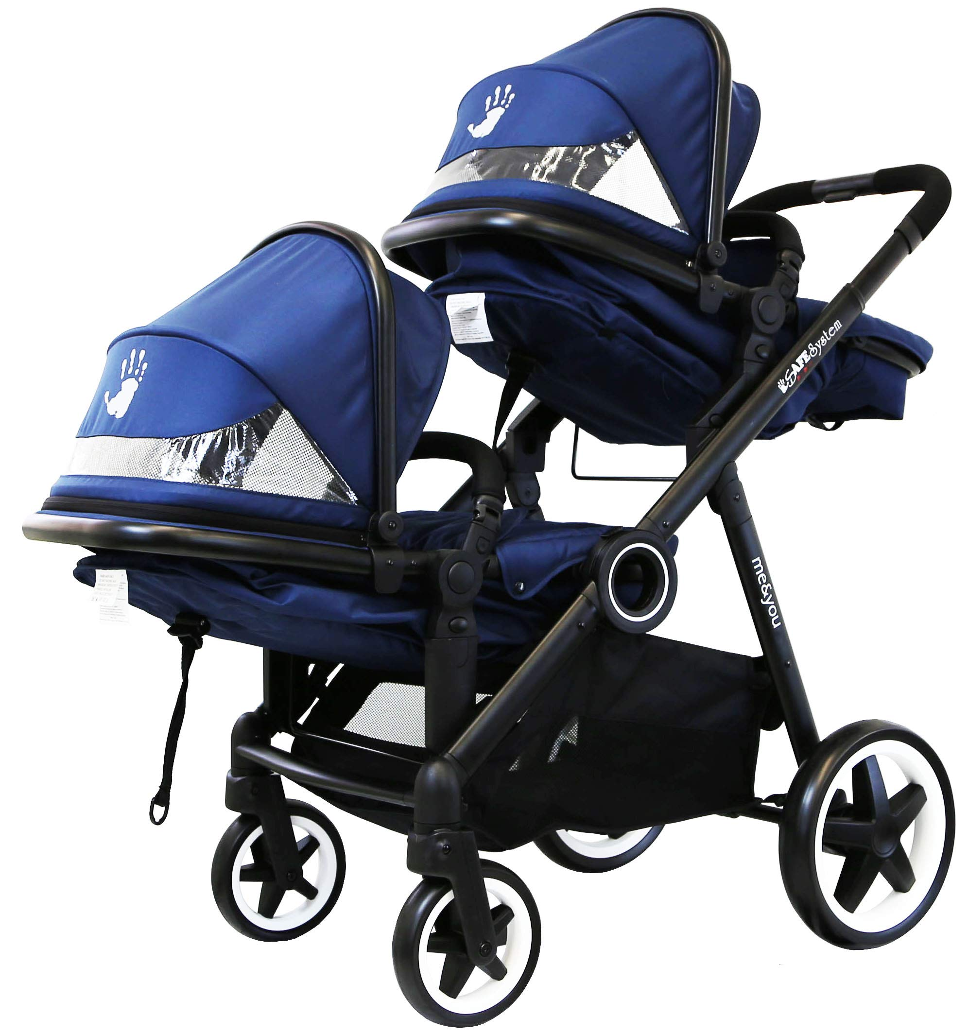 iSafe Tandem Pram me&You - 2 Tone Navy (Navy) iSafe Safety tested and certified to BS EN 1888 and BS EN 1466 for the UK & Europe Seat Units Carrycot Convertible All Adaptors (Built In) Extra large shopping basket 6