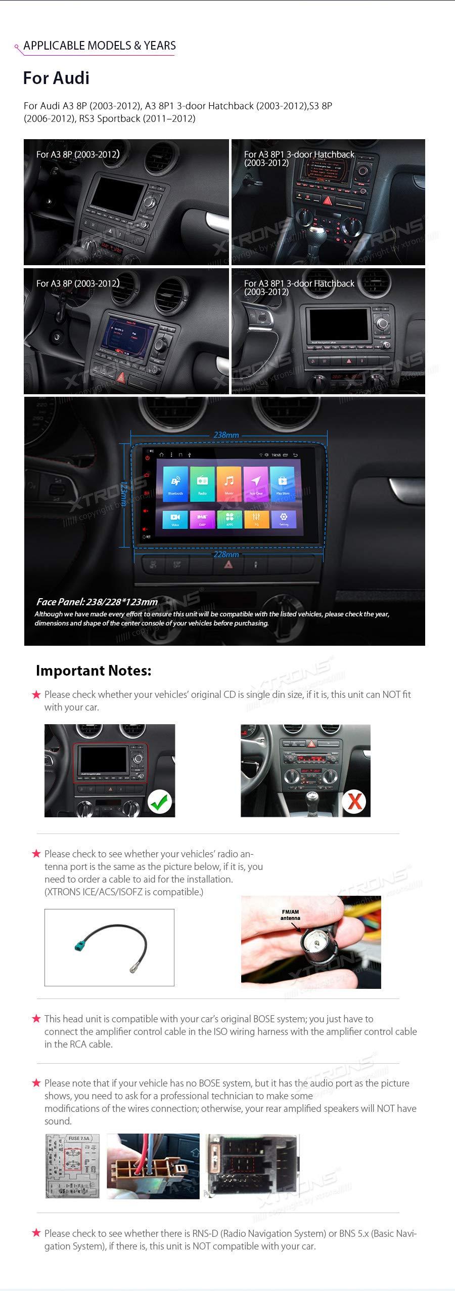 XTRONS-8-Android-Autoradio-mit-Touchscreen-Multimedia-Player-mit-Android-81-Octa-Core-Multimedia-Player-unterstzt-TPMS-WiFi-4G-Bluetooth50-2GB-RAM-32GB-ROM-DAB-OBD2-FR-Audi-A3S3RS3