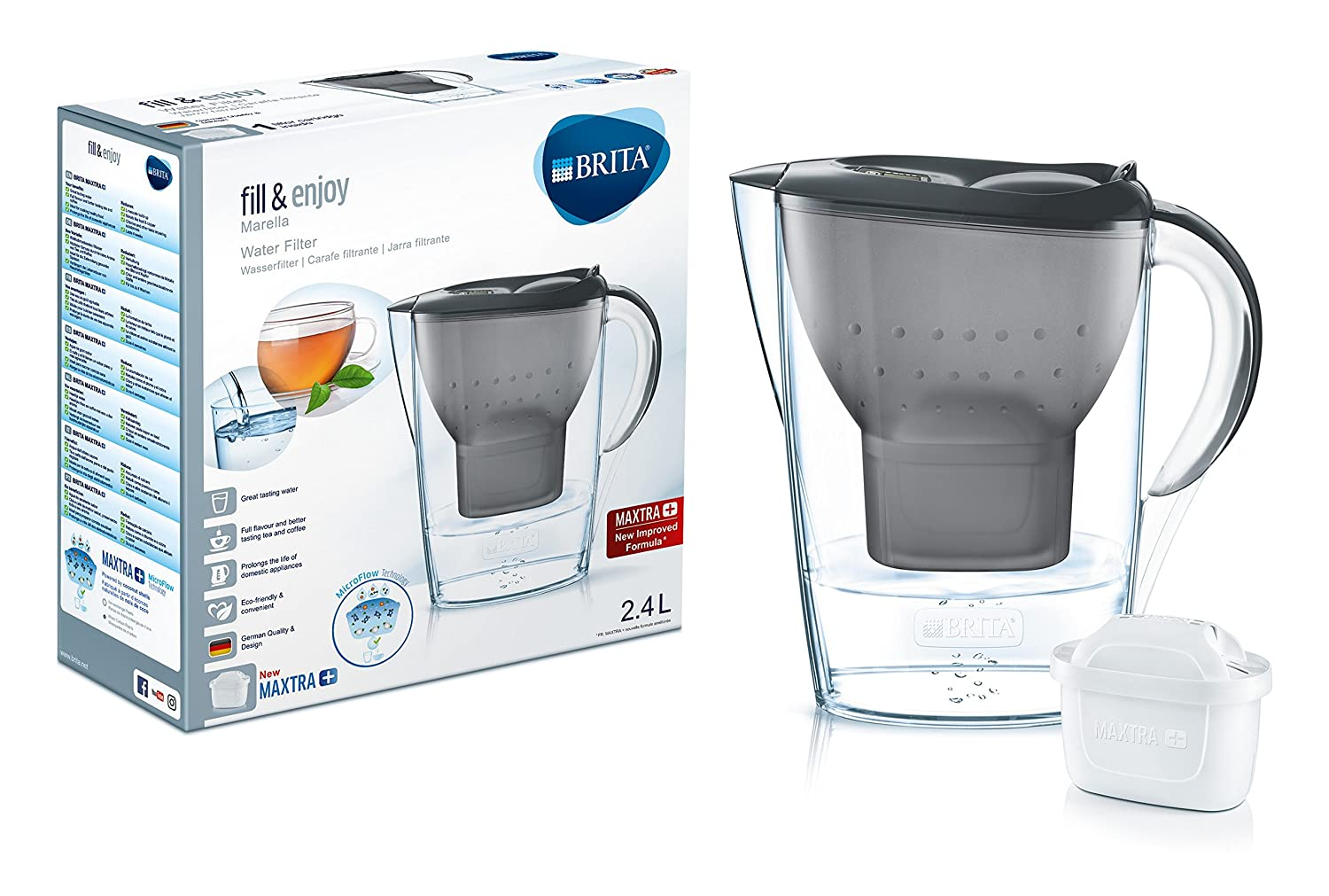 Waterfilter Brita Marella Xl Water Filter Jug And Cartridge Blue Amazonco