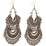 Total fashion Contemporary Metal Oxidised Silver Dangle Earrings for Women & Girls, Silver