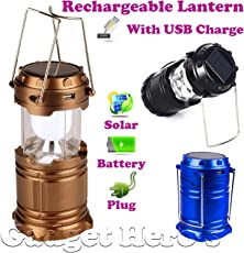 Gadget Hero's 6W Solar Rechargeable LED Lantern with Battery and Plug Charging Options