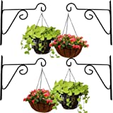 Leafy Tales Plant Hanger Brackets Wall Mounted - Metal Hanging Hooks, Holder for Indoor Outdoor Planters - Black - Set of 4