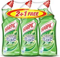 Harpic Toilet Cleaner Liquid Active Fresh Pine, 750ml 2+1 Free