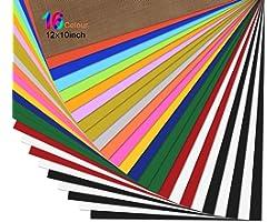 "Zwanzer PU Heat Transfer Vinyl 25 Pack - 12""x10"" Assorted Colors HTV Vinyl Sheets, Iron On Vinyl Sheets for Cricut & Silhouet"
