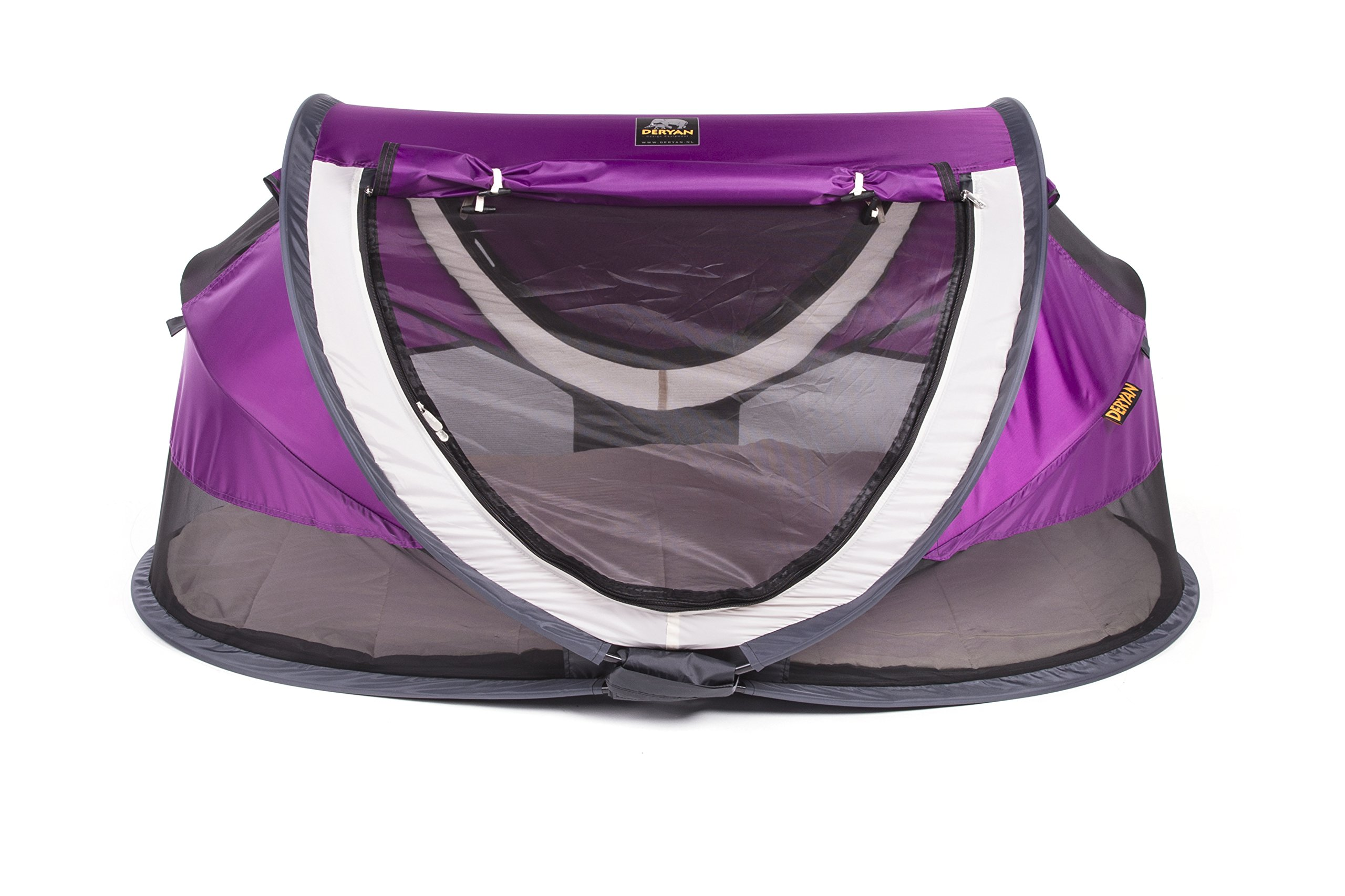 Travel Cot Peuter Luxe (Purple) Deryan 50% UV Protection and flame retardant fabric Setup in 2 seconds and a anti-musquito net  1