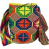 Ancdream Borse colombiane, Mochila Wayuu, borsa a secchiello fatta a mano in cotone colombiano al 100%